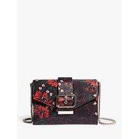 Karen Millen Floral Buckle Envelope Clutch Bag, Black/multi