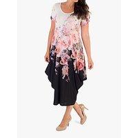 Chesca Bouquet Floral Drape Dress, Ivory/black