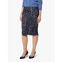 L.K.Bennett Leigh Lace Skirt, Blue/Black