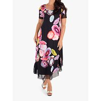 Chesca Asymmetric Abstract Print Jersey Dress, Black/Multi
