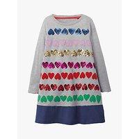 Mini Boden Girls' Sequin Hearts Dress, Grey