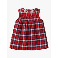 Mini Boden Baby Festive Check Party Dress, Polish Red Check
