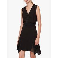 Allsaints Izara Asymmetric Stud Dress, Black
