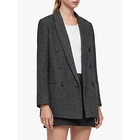 Allsaints Isla Double Breasted Check Blazer, Charcoal Grey