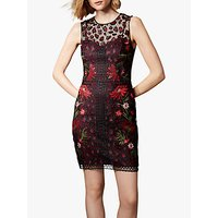 Karen Millen Embroidered Leopard Floral Print Dress, Black/Multi