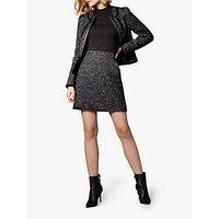 Karen Millen Tweed Tailored A-Line Skirt, Black/White