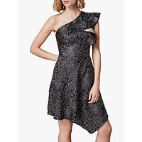 Karen Millen Metallic Jacquard Dress, Black/Multi