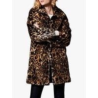 Karen Millen Longline Animal Print Faux Fur Coat, Leopard Print
