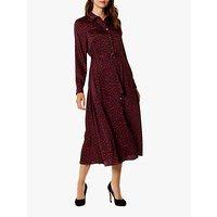 Karen Millen Leopard Print Midi Shirt Dress, Red Multi