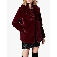 Karen Millen Relaxed Faux Fur Jacket, Aubergine