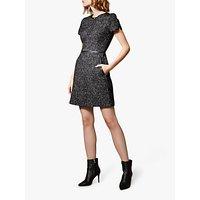 Karen Millen Tweed A-Line Zip Round Neck Dress, Black/Multi