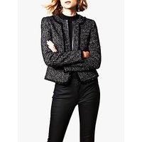 Karen Millen Collarless Tweed Jacket, Black