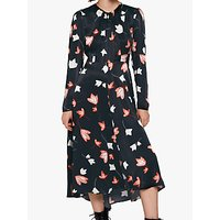 Ghost Ariel Floral Satin Dress, Motif Leaves