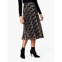 Karen Millen Metallic Chevron Skirt, Multicolour