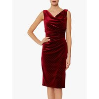 Gina Bacconi Sonrisa Gold Stud Velvet Dress, Wine/Gold
