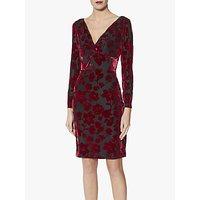 shop for Gina Bacconi Fatima Velvet Knot Front Dress, Black/Red at Shopo