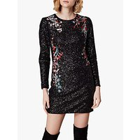Karen Millen Sequin Floral Mini Dress, Black/Multi