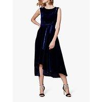 Karen Millen Velvet Asymmetric Belted Dress, Navy