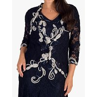 Chesca Ombre Cornelli Embroidered Lace Jacket, Navy/Ivory
