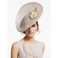 John Lewis & Partners Shirley Up Turn Mesh Disc Occasion Hat, Champagne