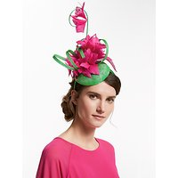 John Lewis & Partners Laura Flower and Loop Pillbox Fascinator, Green/Pink