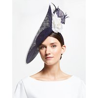 John Lewis & Partners Liliana Floral Side Up Turn Disc Occasion Hat, Navy/White