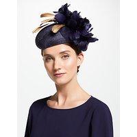 John Lewis & Partners Olivia Pillbox Feather Fascinator, Navy/Gold