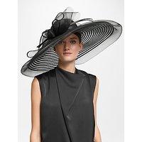 John Lewis & Partners Celia Swirl Down Brim Mesh Disc Occasion Hat, Black