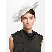 John Lewis & Partners Tiffany Up Turn Crown Disc Occasion Hat, Ivory