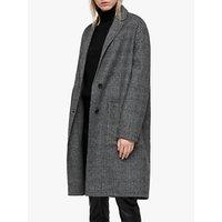 Allsaints Anya Dogtooth Check Coat, Black/white