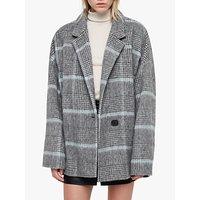 Allsaints Simi Check Coat, Grey/aqua Blue