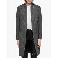 Allsaints Leni Check Coat, Grey