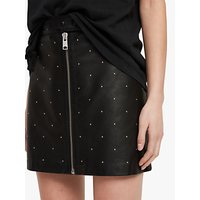 AllSaints Lena Stud Leather Skirt, Black