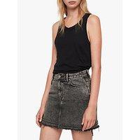 Allsaints Betty Studded Hem Denim Skirt, Washed Black