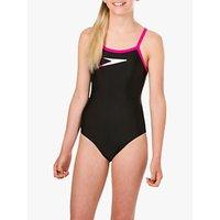 Speedo Girls' Speedo Placement Logo Thinstrap Muscleback Swimsuit, Black