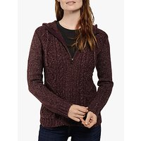 Fat Face Alicia Hoodie Cardigan, Dark Plum