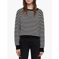 Allsaints Marcel Stripe Cropped Jumper, Ink Navy/ecru White