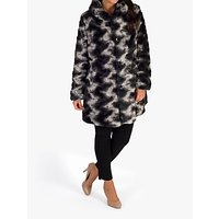 Chesca Faux Fur Reversible Coat, Black/Charcoal