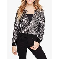 shop for Damsel in a Dress Oretta Sequin Bomber Jacket, Gunmetal at Shopo