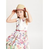 John Lewis and Partners Childrens Straw Trilby Woven Hat, Neutral/Multi
