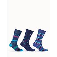 Paul Smith Stripe Star Socks, Pack of 3, One Size, Blue
