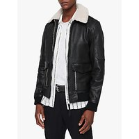 AllSaints Bardell Aviator Leather Jacket, Black