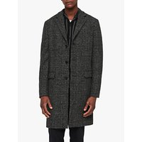 Allsaints Dowell Herringbone Wool Coat, Black/charcoal