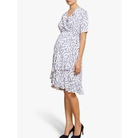 Isabella Oliver Lullah Floral Wrap Over Maternity Dress, White/blue