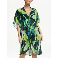John Lewis & Partners Bali Leaf Twist Front Kaftan, Green/Multi