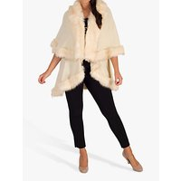 Chesca Luxury Knitted Faux Fur Cape, Cream