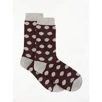 John Lewis & Partners Wool and Silk Blend Spot Socks, Purple/Light Grey/Dark Grey