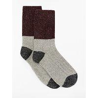 John Lewis & Partners Colour Block Wool Silk Blend Ankle Socks, Light Grey/Dark Grey/Purple