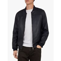 shop for Ted Baker Cubz Leather Bomber Jacket, Navy Blue at Shopo