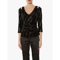 Gina Bacconi Daria Sequin and Velvet Top, Black